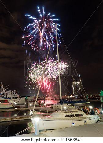 AUSTRALIA MELBOURNE - AUGUST 12 2016: Fireworks display on Victoria Harbour Docklands Melbourne.