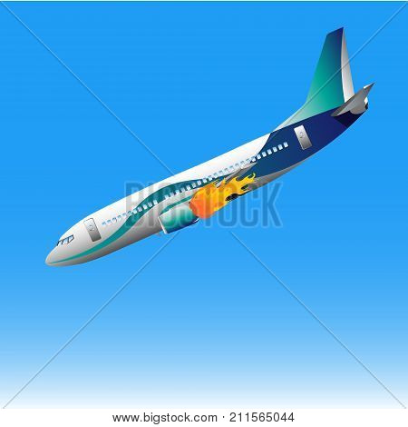 Catastrophe of the plane. Flat vector illustration