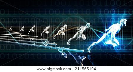 Internet Connection with Moving Data Packets Art 3d Render