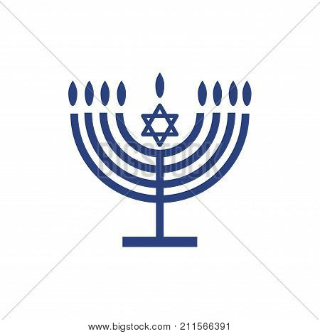 Jewish holiday Hanukkah background with traditional Chanukah symbol menorah - candelabrum candles, star of David icon and flame lights, isolated on white, place for text, template Hanukah pattern vector illustration.