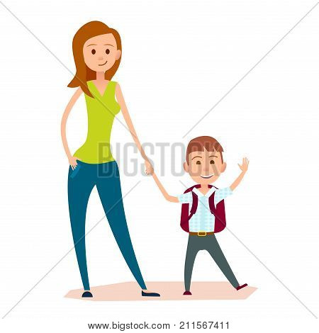 Pretty mother leads small son with red schoolbag on back to school or to classes. Schoolboy sends greeting by hand vector illustration.