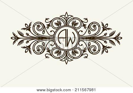 Stylish graceful monogram , Elegant line art logo design in Victorian style.