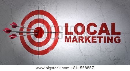 Success marketing concept: arrows hitting the center of target, Red Local Marketing on wall background, 3D rendering