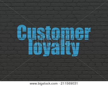 Marketing concept: Painted blue text Customer Loyalty on Black Brick wall background