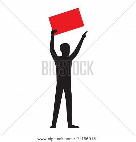 Man silhouette holding bright blank board template with empty paper sheet vector illustration isolated on white background. Human showing red placard illustration for public protests concepts