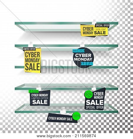 Empty Shelves, Cyber Monday Sale Advertising Wobblers Vector. Retail Concept. Big Sale Banner. Cyber Monday Discount Sticker. Sale Banners. Isolated Illustration