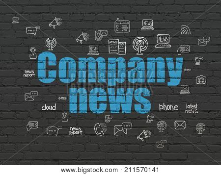 News concept: Painted blue text Company News on Black Brick wall background with  Hand Drawn News Icons