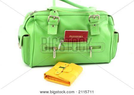 Green Bag And Yellow Wallet