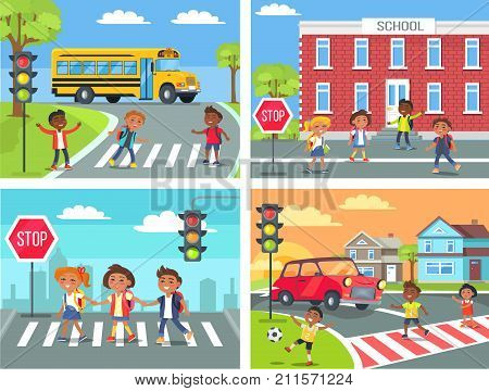 Schoolchildren cross road on pedestrian crossing in downtown, near school building, at calm neighbourhood and at common city road vector illustration.