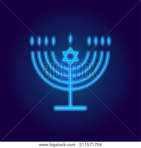 Jewish holiday Hanukkah background neon lights with traditional Chanukah symbol menorah - candelabrum candles, star of David icon, glowing blurred blue lights. Icon template. Hanukah greeting card, Candlestick logo reto vector illustration.