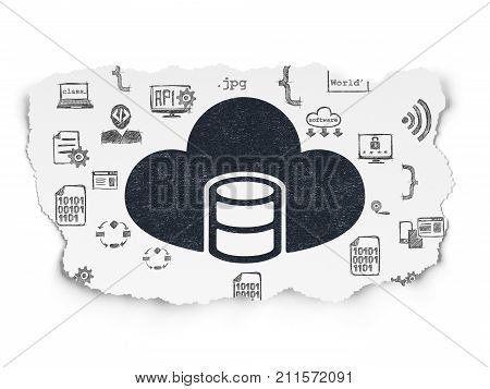 Database concept: Painted black Database With Cloud icon on Torn Paper background with  Hand Drawn Programming Icons