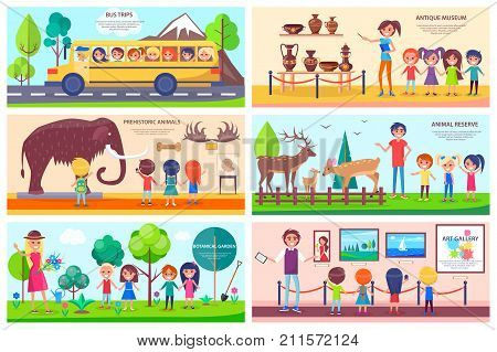 Visit to antique museum, prehistoric animals exhibition, animal reserve, botanical garden, art gallery and school bus trip vector illustrations.
