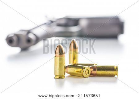 9mm pistol bullet isolated on white background.