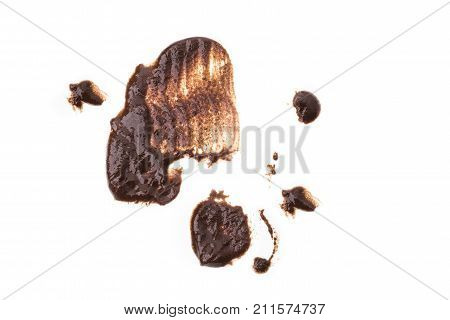 Stains from hot chocolate isolated on white background