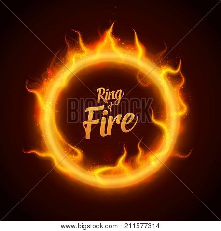 Vector ring of orange fire with sparks. Procedural fire flames burn around glowing circle. Fire burning circle on a black background illustration. eps 10.