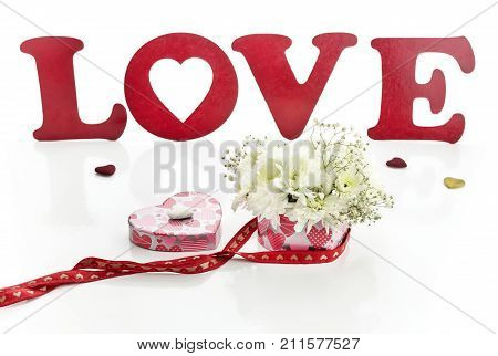 Valentine's Day decorations. The word