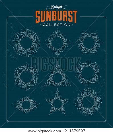 Vintage styled sunburst set collection. Vector illustration. Sunbursts.