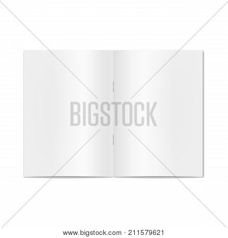 Vector opened realistic notebook, book, journal, magazine or newspaper on staples mockup. Blank open pages of sketchbook or exercise book template