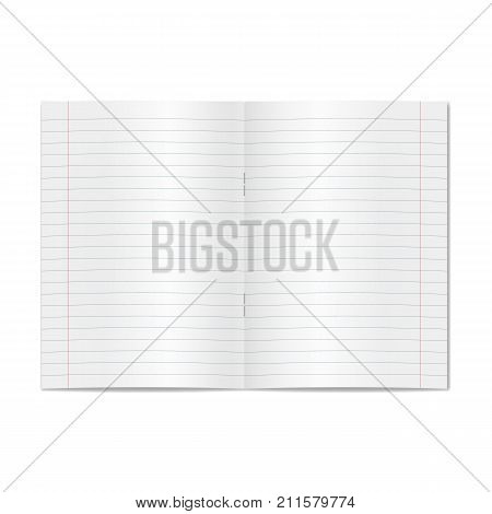 Vector opened realistic lined ruled school copybook with red margins. Blank lined open pages of notebook or exercise book with staples mockup or template