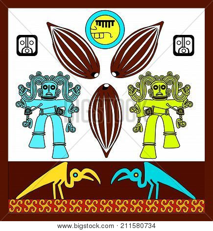 Cacao. Ethnic patterns of Native Americans: the Aztec, Inca, Maya, Alaska Indians (Mexico, Ecuador, Peru). Drawing in the Mexican style. Monkey, Drum and Raven. Vector