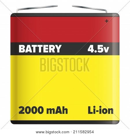 Pack li-ion or lithium-ion battery LIB with metal ends isolated on white. Vector illustration of rechargeable battery in flat design yellow and red colors in which lithium ions move during charge
