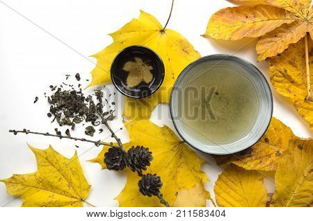Bright autumn tea ceremony still life cup of tea closup on white background