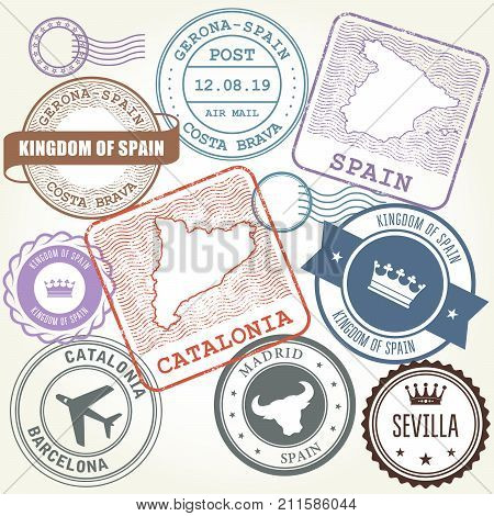 Travel stamps set Barcelona Catalonia and Spain theme