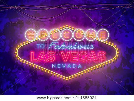 Neon Las Vegas Sign on urban street grunge wall.