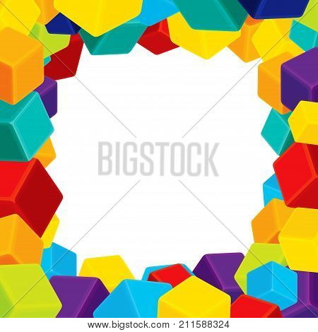 Colorful Cubes Frame. Geometrical background. Vector illustration