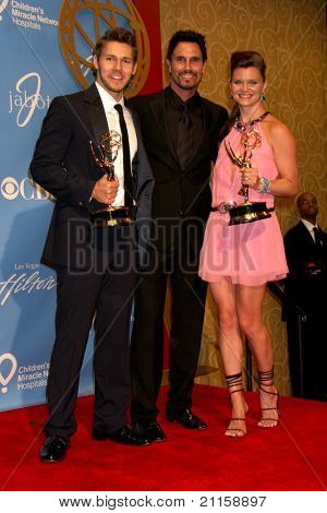 LAS VEGAS - JUN 19:  Scott Clifton, Don Diamont, Heather Tom in the Press Room of the  38th Daytime Emmy Awards at Hilton Hotel & Casino on June 19, 2010 in Las Vegas, NV.