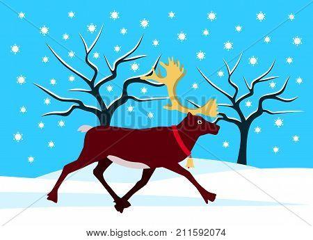 vector running reindeer with golden horns in snowy landscape