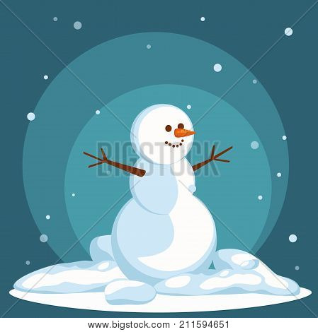 Snowman vector flat helper winter landscape. Snowman icon face smile isolated. Snowman icon flat style. Snowman vector design. Santa Christmas helper icon.vector background