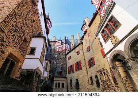 Walls Surrounding Inner Courtyard Of Eltz Castle In Rhineland-palatinate, Germany