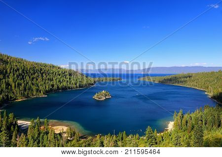 Emerald Bay at Lake Tahoe with Fannette Island California USA. Lake Tahoe is the largest alpine lake in North America