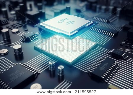 3D rendering Circuit board. Technology background. Central Computer Processors CPU concept. Motherboard digital chip. Tech science EDA background. Integrated communication processor. Information CPU engineering