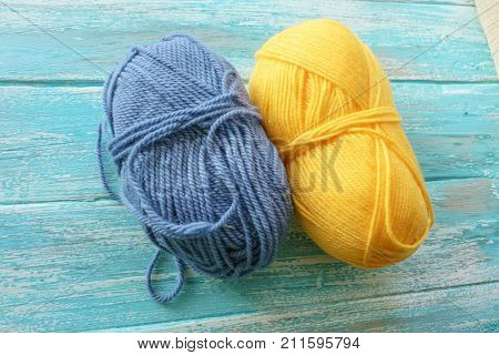 Wool yarns for knitting. Close-up Blue and yellow color