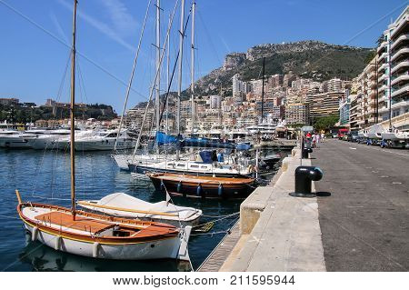 Boats Docked At Port Hercules In La Condamine Ward Of Monaco.