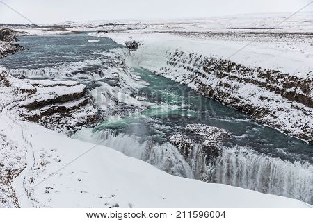 Gullfoss Waterfall, Iceland, With Snow In Winter