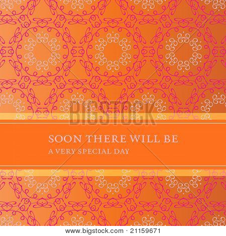 Invitation Card With Flower Pattern And Banner