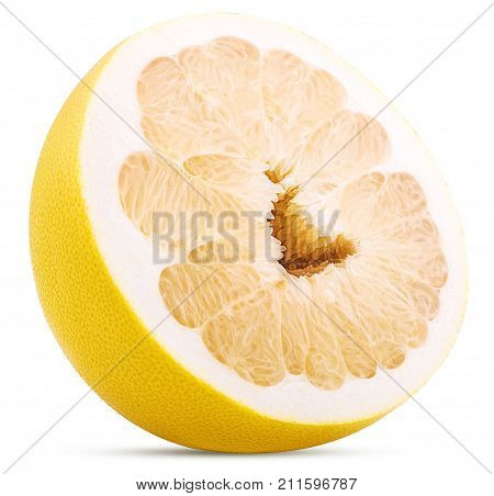 Pamela citrus fruit cut in half isolated on white background. Clipping Path.