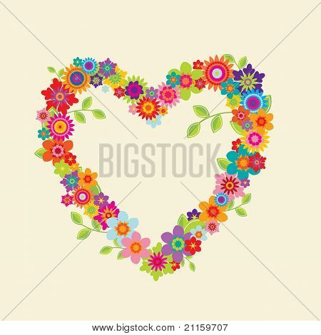 Heart With Leaves And Flowers