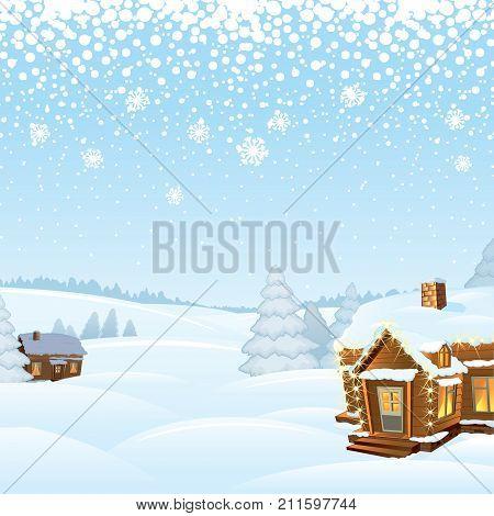 Snowy Day Rural Winter Landscape. Vector Illustration
