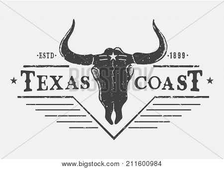 Western logo with bull skull.Typography prints vector design for t-shirt or other wear