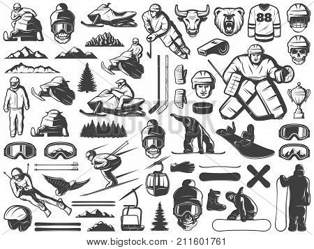Vintage winter sport games icons collection with hockey snowboarding snowmobile skiing sportsmen equipment and nature elements isolated vector illustration