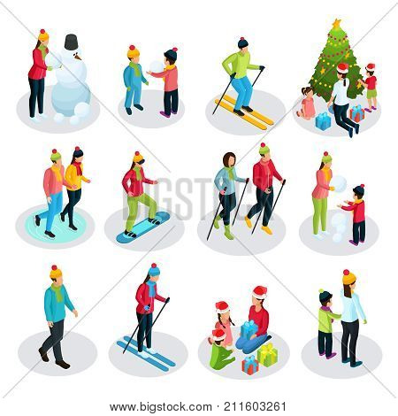 Isometric people on winter holidays set with parents and children involved in sport and other activities isolated vector illustration