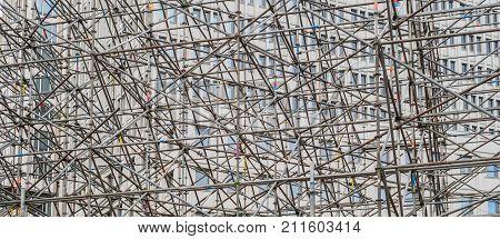 Scaffold Construction Concept ,  Scaffolding Framework Background
