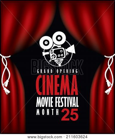 Vector cinema festival poster with Red Curtains and projector lights. Movie background with words cinema movie festival grand opening. Can used for banner poster web page background