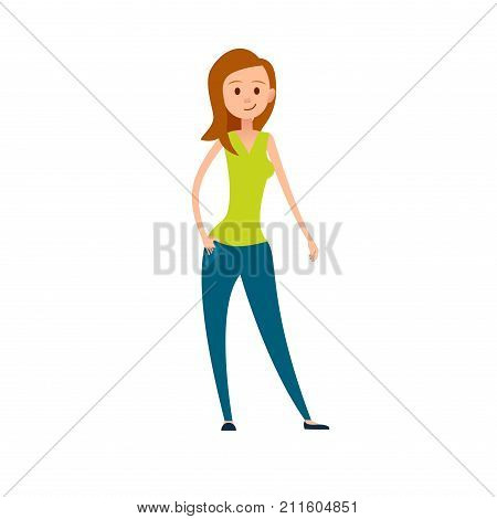 Grown-up woman in casual cloth isolated on white background. Cartoon wife or mother, avatar user pic of adult add vector illustration