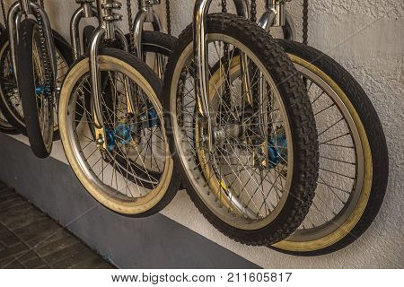 Wheels from a bicycle. Many wheels. Many wheels off the bike. Bicycle Wheels