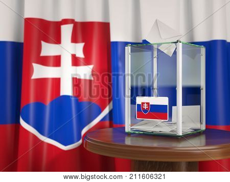 Ballot box with flag of Slovakia and voting papers. Slovak presidential or parliamentary election. 3d illustration